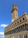 Florence Italy the main monument in the city called Palazzo Vecc. Hio in Italian Langauge Royalty Free Stock Photo