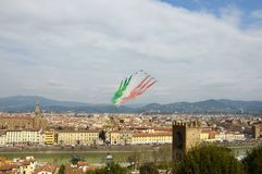 Florence, Italy - March, 28 2018: Airshow of PAN Frecce Tricolori. The Frecce Tricolori in the sky of Florence for 95th birthday of the Italian Air Force in Stock Photos