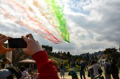 Florence, Italy - March, 28 2018: Airshow of PAN Frecce Tricolori. The Frecce Tricolori in the sky of Florence for 95th birthday of the Italian Air Force in Stock Images