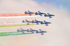 Florence, Italy - March, 28 2018: Airshow of PAN Frecce Tricolori. The Frecce Tricolori in the sky of Florence for 95th birthday of the Italian Air Force in Stock Photo