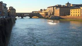 The Ponte Vecchio bridge in Florence. Florence, Italy - March 22, 2018: The Ponte Vecchio bridge in Florence stock video