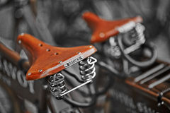 Florence, Italy - May 15, 2014 : A retro and vintage style for an English leather saddle from Brooks Stock Photography