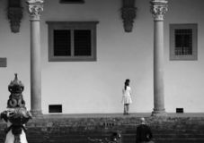 The squares of Florence SS. Annunziata royalty free stock photography