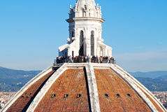 FLORENCE, ITALY - NOVEMBER, 2015: Brunelleschi dome with tourists, detail royalty free stock photos
