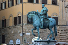FLORENCE, ITALY - NOVEMBER, 2015: Equestrian statue of Cosimo de Medici, Signoria's square Royalty Free Stock Images