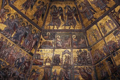 FLORENCE, ITALY - NOVEMBER, 2015: Golden mosaics and Christ in the Baptistery of San Giovanni Royalty Free Stock Images