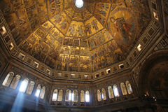 FLORENCE, ITALY - NOVEMBER, 2015: Golden mosaics and Christ in the Baptistery of San Giovanni Stock Image