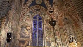 FLORENCE, ITALY - NOVEMBER 2016: Interior of Basilica di Santa Croce di Firenze. FLORENCE, ITALY - NOVEMBER 2016: Interior of Basilica di Santa Croce di Firenze stock footage
