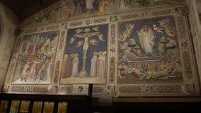 FLORENCE, ITALY - NOVEMBER 2016: Interior of Basilica di Santa Croce di Firenze. FLORENCE, ITALY - NOVEMBER 2016: Interior of Basilica di Santa Croce di Firenze stock video footage
