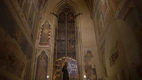FLORENCE, ITALY - NOVEMBER 2016: Interior of Basilica di Santa Croce di Firenze. FLORENCE, ITALY - NOVEMBER 2016: Interior of Basilica di Santa Croce di Firenze stock video