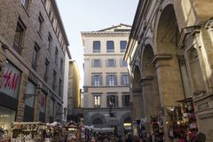 Loggia del mercato nuovo in Florence. FLORENCE, ITALY - NOVEMBER 22 2015: Loggia del mercato nuovo in Florence, Italy, outdoor street market Stock Photography