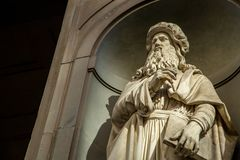 Leonardo da vinci statue artist in Florence city ,Italy. stock photo