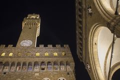 Palazzo Vecchio and Loggia dei Lanzi in Florence stock photos