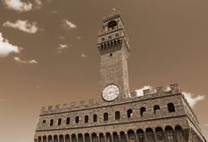 Florence Italy Old Palace called Palazzo Vecchio with blue sky Royalty Free Stock Photography