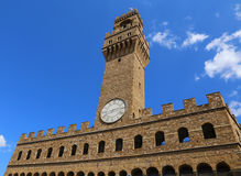 Florence Italy Old Palace and clock tower with sky in Signoria  Stock Photos