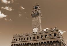 Florence Italy Old Palace nannte Palazzo Vecchio mit blauem Himmel Lizenzfreie Stockfotografie