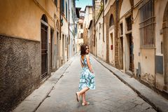Florence, Italy. Pretty girl on Florence street royalty free stock photo