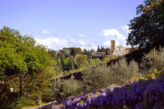 Florence, Italy, San Miniato. San Miniato al Monte (St. Minias on the Mountain) is a basilica in Florence, Italy, standing in one of the highest points in the Stock Images