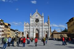 Florence, Italy, Santa Croce. The Basilica di Santa Croce (Basilica of the Holy Cross) is in Florence, Italy. It is situated on the Piazza di Santa Croce, and it Stock Photography