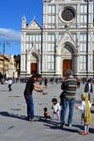Florence, Italy, Santa Croce. Puppet show in Santa Croce, Florence, Italy.  The construction of the Basilica, the largest Franciscan church in the world Royalty Free Stock Photos