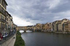 Florence Italy - SEPTEMBER 7, 2016. Arno River in the heart of t royalty free stock photos