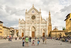 FLORENCE, ITALY. SEPTEMBER 4, 2014:  Basilica di Santa Croce on the Piazza di Santa Croce, basilica is the burial place of Galileo Galilei and other Stock Photos