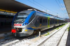 Modern train ETR-425 Trenitalia at the platform of the railway station. Florence Stock Images