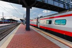 Florence, ITALY- September 10, 2016: Speed train `TrenItalia` of Frecciargento type on the station in Florence `Firenze Campo di Stock Photography