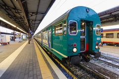 Florence, ITALY- September 10, 2016: Train `TrenItalia` of  Regionale or Regionale Veloce type on the station in Florence `Firenze Royalty Free Stock Photo