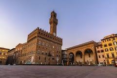 Florence, Italy. Signoria square before sunrise, Florence, Italy stock image