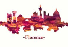 Florence Italy skyline in red stock illustration