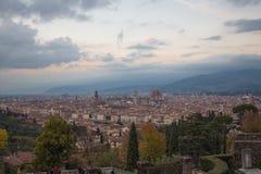 florence italy solnedgång tuscany Sikt från basilikaSan Miniato al Monte tuscany italy Arkivfoto