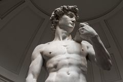 The statue of David is a bottom view without tourists royalty free stock images