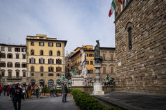 Florence, Italy Street Scene with Statuary Stock Photography