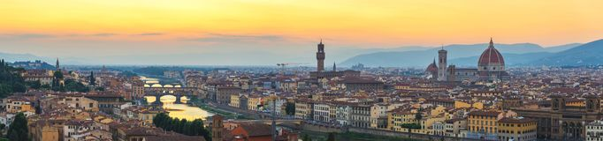Florence Italy sunset panorama city skyline. Florence Italy, sunset panorama city skyline with Ponte Vecchio bridge and Duomo stock photo