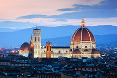 Florence, Italy sunset skyline. Cathedral of Saint Mary of the Flowers. Vintage Royalty Free Stock Photos