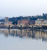 Florence, Italy, sunset view from Ponte Vecchio on the river Arn Stock Photo