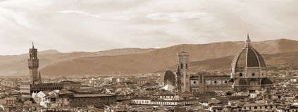 Florence Italy, Top view from Michelangelo Square Stock Images