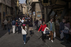 Florence, Italy tourists on Porte Vecchio Royalty Free Stock Photo