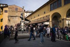 Florence, Italy tourists on Porte Vecchio Royalty Free Stock Image