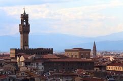 Florence Italy Tower of Old palace also called PALAZZO VECCHIO i. N Italian language seen from above Stock Photos