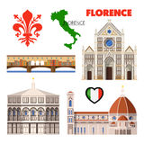 Florence Italy Travel Doodle with Architecture, Map and Flag Royalty Free Stock Photos
