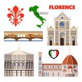 Florence Italy Travel Doodle avec l'architecture, la carte et le drapeau Photos libres de droits