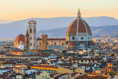Florence, Italy. View of Florence after sunset from Piazzale Michelangelo, Italy stock photography