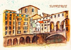 Florence, Italy. Watercolor drawing of the famous bridge in Florence, Italy. City sketch Stock Images