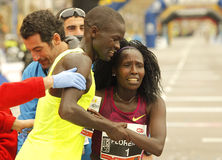 Florence Kiplagat with Abel Kirui after to break half Marathon world record. Florence Kiplagat(R) with Abel Kirui(L) after to break half Marathon world record stock photos