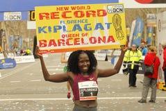 Florence Kiplagat after to break half Marathon world record. During Barcelona Half Marathon in Barcelona on February 15, 2015 in Barcelona, Spain royalty free stock photos