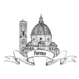 Florence label Travel Italy icon. Cathedral building Royalty Free Stock Images