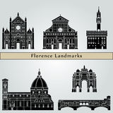 Florence landmarks and monuments. Isolated on blue background in editable vector file Royalty Free Stock Photo