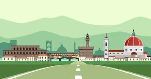 Florence Landscape från vägen Royaltyfria Foton
